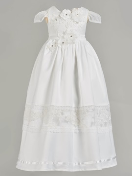 Lace Cap Sleeve Flowers Baby Girl's Christening Gown