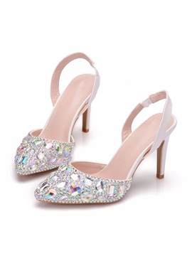 Rhinestone Stiletto Heel Slingback Strap Wedding Sandals