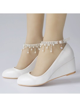 Rhinestone Wedge Heel Line-Style Buckle Wedding Shoes
