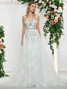 Beading V-Neck Appliques Wedding Dress