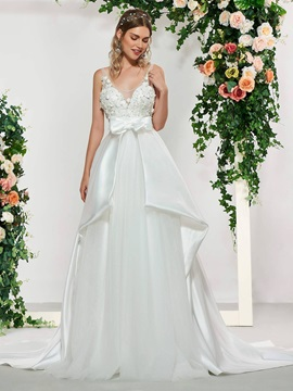 A-Line Scoop Neck Beading Appliques Wedding Dress