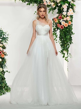 Appliques Beading One Shoulder Wedding Dress