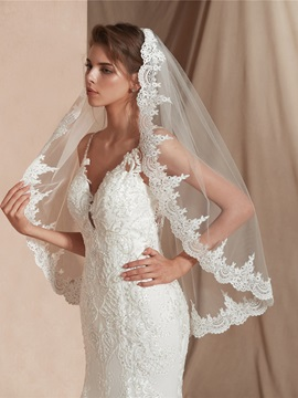 Applique Edge One-Layer Elbow Wedding Veil