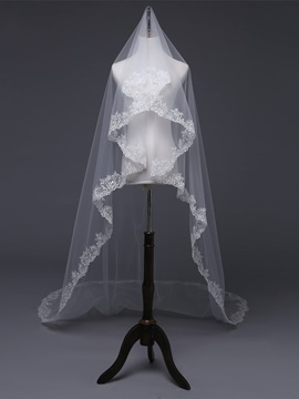 Cathedral One-Layer Applique Edge Wedding Veil