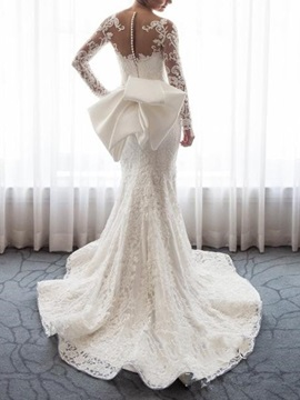 Mermaid Button Long Sleeve Lace Wedding Dress