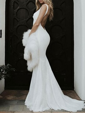 Spaghetti Straps Lace Backless Wedding Dress