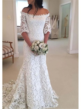 Mermaid Appliques Lace Off-The-Shoulder Wedding Dress
