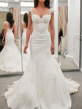 Cap Sleeves Appliques Mermaid Wedding Dress