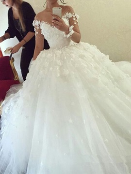 Long Sleeves Flowers Appliques Ball Gown Wedding Dress