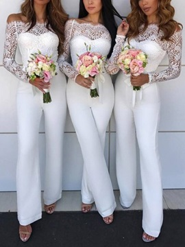 Long Sleeves Lace Column Bridesmaid Jumpsuits