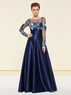 Bateau Neck Appliques Sequins Mother of the Bride Dress