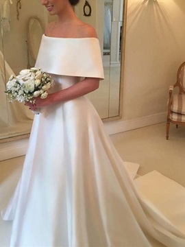 A-Line Off-The-Shoulder Short Sleeves Wedding Dress 2019