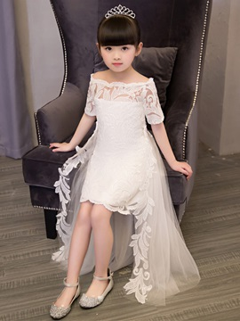 A-Line Half Sleeves Off-The-Shoulder Appliques Flower Girl Dress