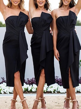 Strapless Tea-Length Bowknot Bridesmaid Dress