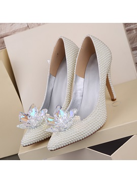 Stiletto Heel Pointed Toe Rhinestone Wedding Shoes