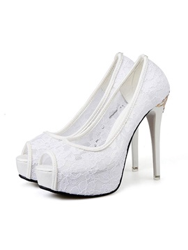 Sequin Slip-On Peep Toe Plain Wedding Shoes