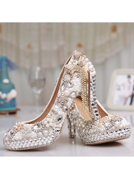 Round Toe Chunky Heel Beads Wedding Shoes
