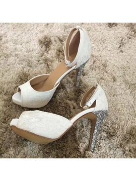 Peep Toe Stiletto Heel Slip-On Wedding Shoes