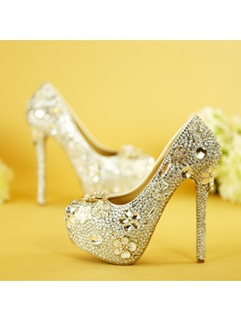 Round Toe Stiletto Heel Slip-On Wedding Shoes
