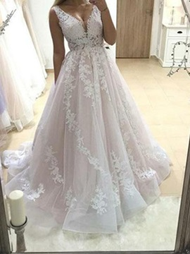 V-Neck A-Line Sleeveless Appliques Wedding Dress 2019