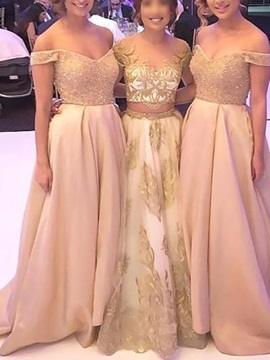Beading Off-The-Shoulder A-Line Wedding Party Dress 2019