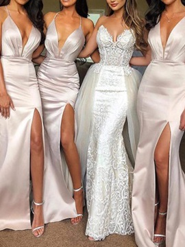 Split-Front Halter Bridesmaid Dress 2019