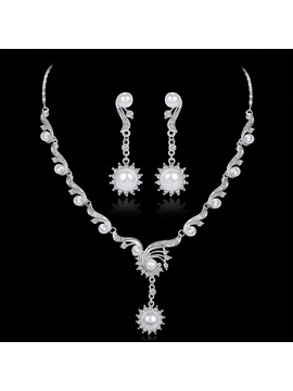 European Floral Pearl Inlaid Jewelry Sets (Wedding)