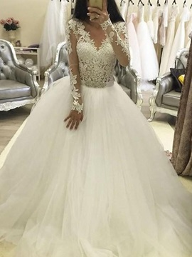 Long Sleeves Beading Appliques Ball Gown Wedding Dress 2019