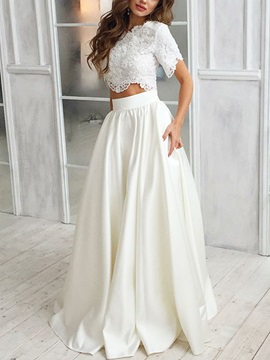 Short Sleeves Appliques Two Pieces Beach Wedding Dress 2019