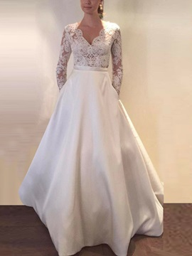 Button Lace Appliques Long Sleeve Wedding Dress 2019