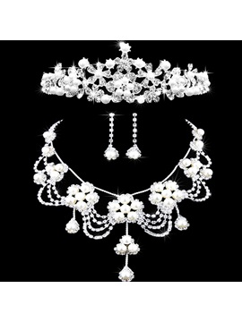 Tiara Korean Floral Jewelry Sets (Wedding)
