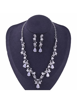 Floral Korean Gemmed Jewelry Sets (Wedding)