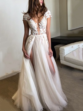 A-Line Appliques Cap Sleeves V-Neck Beach Wedding Dress 2019