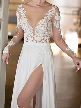 Sheer Neck Long Sleeves Lace Beach Wedding Dress 2019