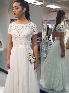 Lace Short Sleeves Backless Beach Wedding Dress 2019