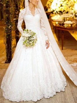 Vintage Ball Gown Button Lace Long Sleeve Wedding Dress 2019