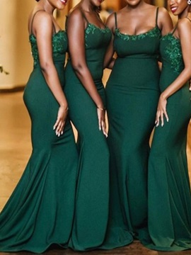 Appliques Spaghetti Straps Mermaid Bridesmaid Dress 2019