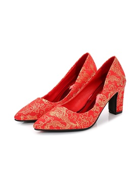 Female Embroidery Pointed Toe Chunky Heel Thin Wedding Shoes