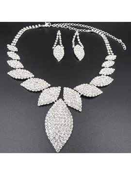 Leaf Diamante Earrings Jewelry Sets (Wedding)