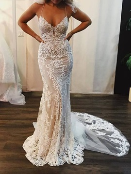 Spaghetti Straps Appliques Lace Wedding Dress 2019