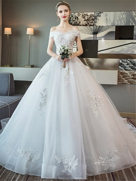 Appliques Ball Gown Off-The-Shoulder Court Hall Wedding Dress 2019