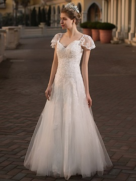 Floor-Length Lace A-Line Short Sleeves Hall Wedding Dress 2019