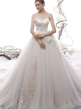 Sleeveless Sweetheart Chapel Floor-Length Church Wedding Dress 2019