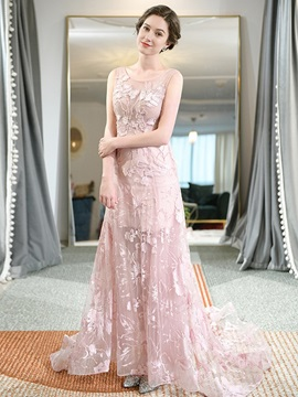 Floor-Length Sleeveless Scoop Lace Wedding Party Dress 2019