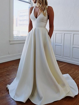 Simple Bowknot Back V-Neck Hall Wedding Dress 2019