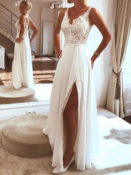 Split-Front A-Line Floor-Length Sleeveless Garden Wedding Dress 2019