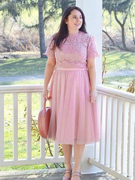 Lace Short Sleeves Knee-Length Mother of the Bride Dress 2019