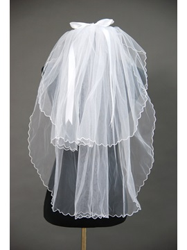 Plain 2 Layers Ruffles Wedding Bridal Veil ZU98798