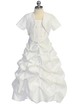 Elegant A-line 2 Piece Ruched White Flower Girl Dress