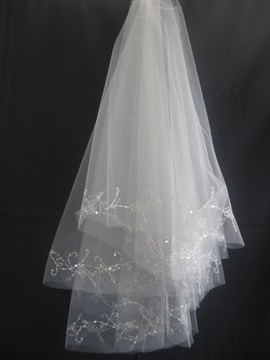 Spectacular Tidebuy Elbow Wedding Veil With Beading Edge